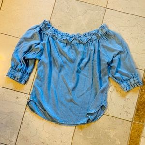 Tops - Chambray Off-Shoulder Top Mid Length Sleeves XL